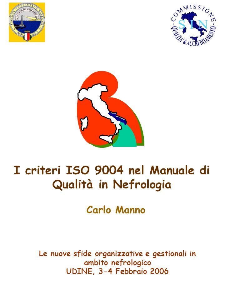 I criteri ISO 9004 nel Manuale di Qualità in Nefrologia Carlo Manno Le nuove sfide organizzative e gestionali in ambito nefrologico UDINE, 3-4 Febbrai