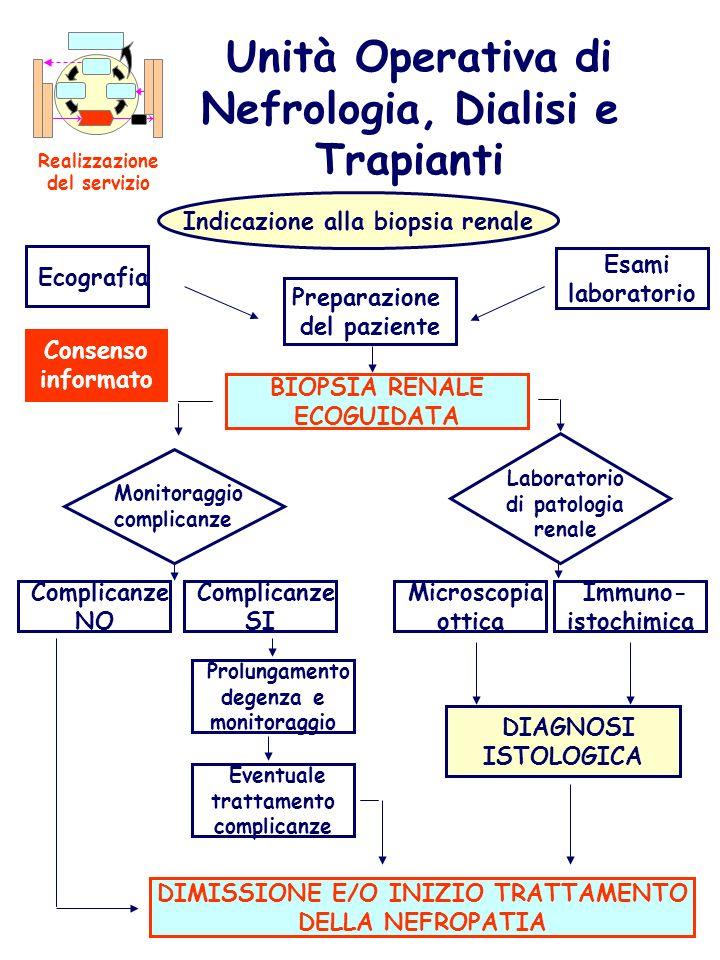 Unità Operativa di Nefrologia, Dialisi e Trapianti Realizzazione del servizio Indicazione alla biopsia renale Preparazione del paziente Esami laborato