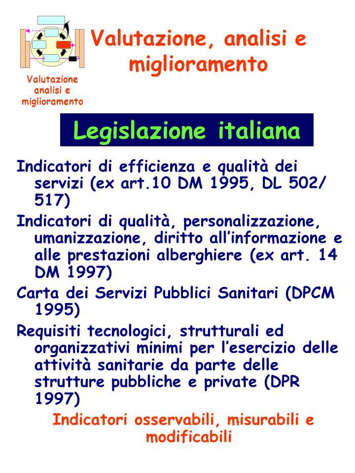 Indicatori di efficienza e qualità dei servizi (ex art.10 DM 1995, DL 502/ 517) Indicatori di qualità, personalizzazione, umanizzazione, diritto allin