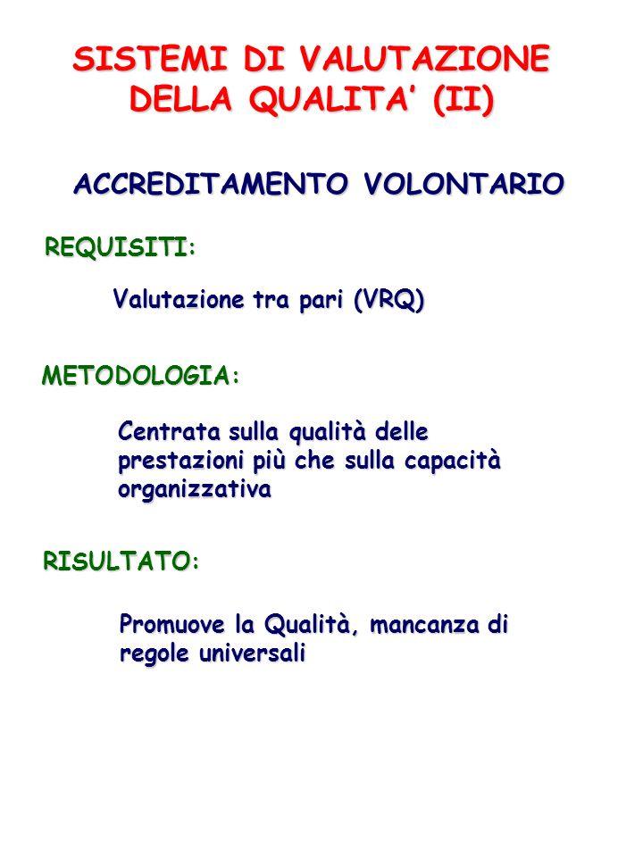 SISTEMI DI VALUTAZIONE DELLA QUALITA (II) ACCREDITAMENTO VOLONTARIO REQUISITI: Valutazione tra pari (VRQ) METODOLOGIA: Centrata sulla qualità delle pr