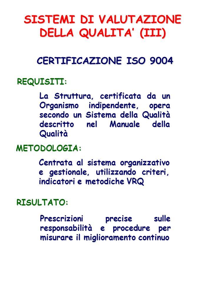 SISTEMI DI VALUTAZIONE DELLA QUALITA (III) CERTIFICAZIONE ISO 9004 REQUISITI: La Struttura, certificata da un Organismo indipendente, opera secondo un