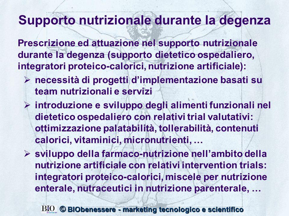 3 © BIObenessere - marketing tecnologico e scientifico Supporto nutrizionale durante la degenza Prescrizione ed attuazione nel supporto nutrizionale d