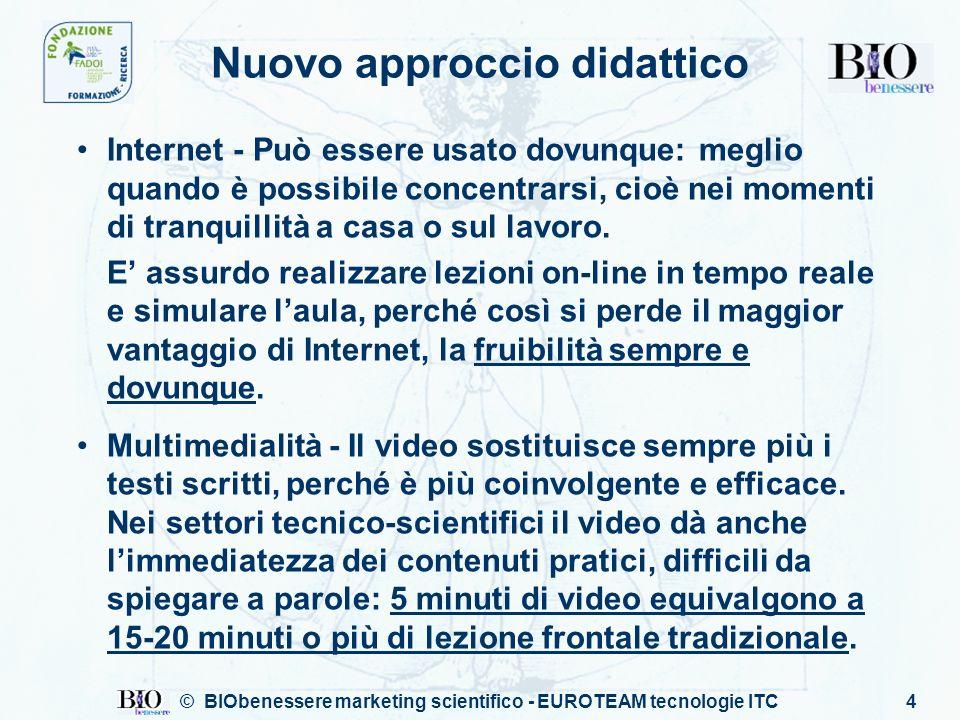 © BIObenessere marketing scientifico - EUROTEAM tecnologie ITC5 Video vs.
