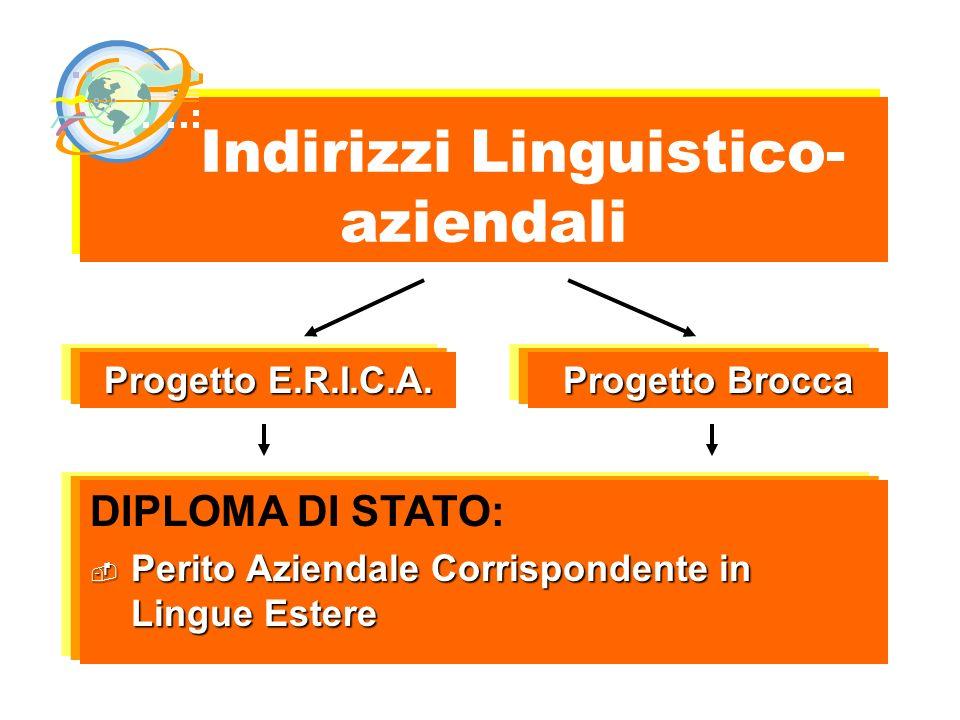 Indirizzi Linguistico- aziendali DIPLOMA DI STATO: Perito Aziendale Corrispondente in Lingue Estere Perito Aziendale Corrispondente in Lingue Estere P