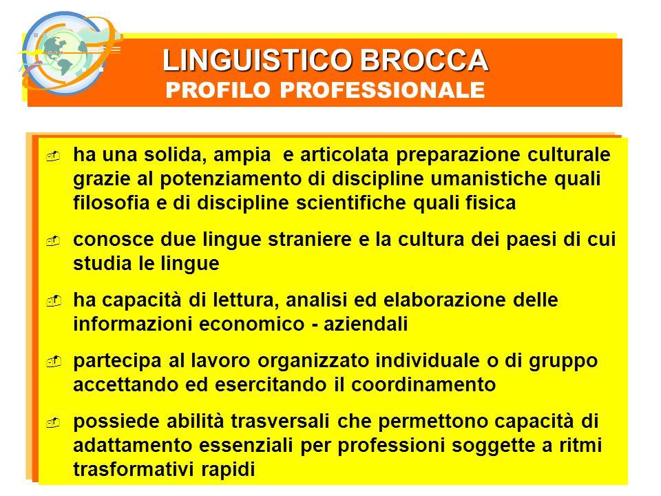 LINGUISTICO BROCCA PROFILO PROFESSIONALE LINGUISTICO BROCCA PROFILO PROFESSIONALE ha una solida, ampia e articolata preparazione culturale grazie al p