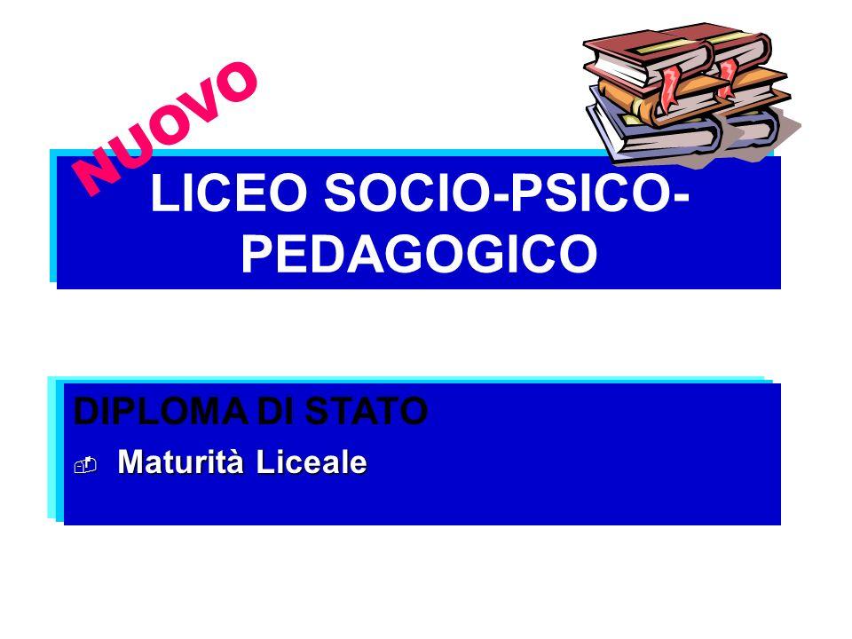LICEO SOCIO-PSICO- PEDAGOGICO DIPLOMA DI STATO Maturità Liceale Maturità Liceale NUOVO