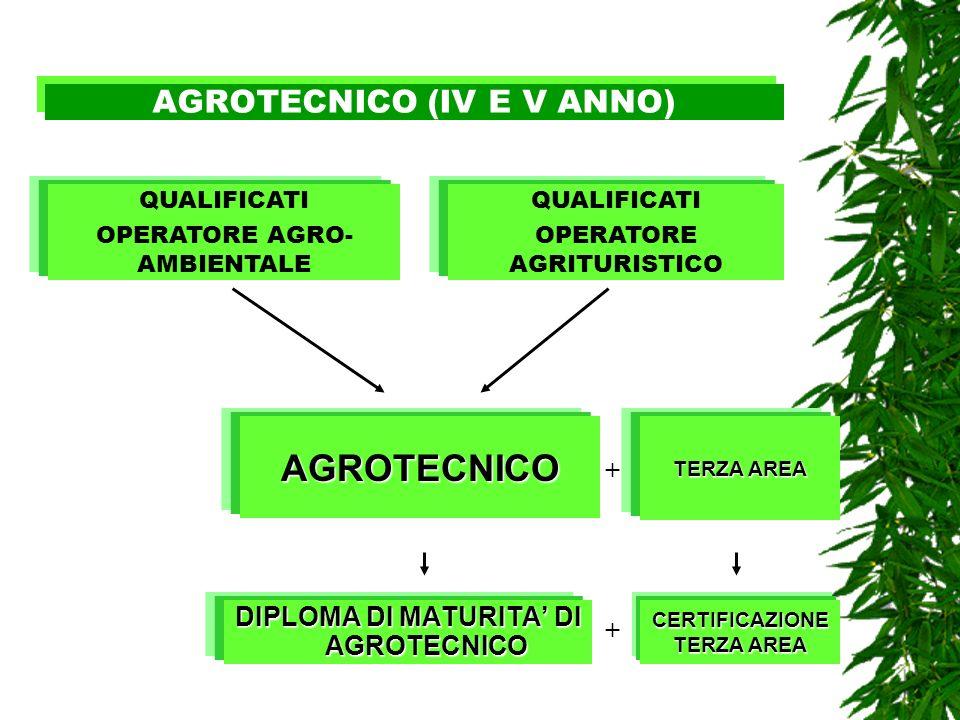 AGROTECNICO (IV E V ANNO) DIPLOMA DI MATURITA DI AGROTECNICO AGROTECNICO TERZA AREA QUALIFICATI OPERATORE AGRO- AMBIENTALE QUALIFICATI OPERATORE AGRIT