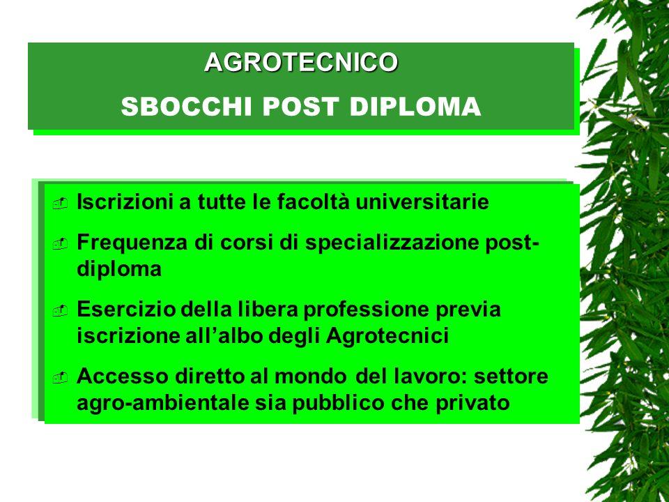 AGROTECNICO AGROTECNICO SBOCCHI POST DIPLOMA Iscrizioni a tutte le facoltà universitarie Frequenza di corsi di specializzazione post- diploma Esercizi