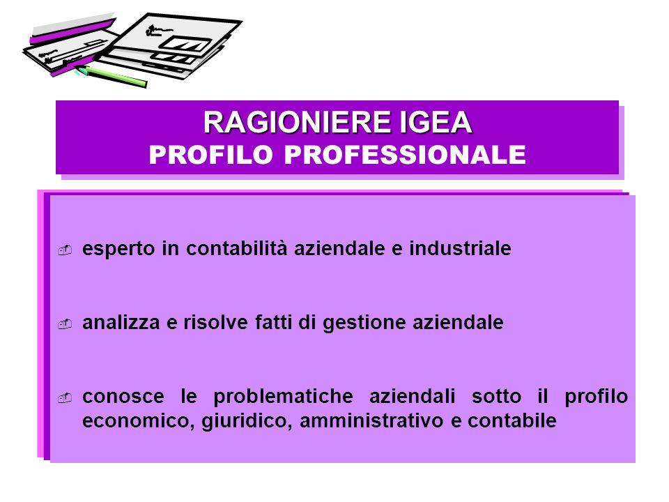 RAGIONIERE IGEA PROFILO PROFESSIONALE RAGIONIERE IGEA PROFILO PROFESSIONALE esperto in contabilità aziendale e industriale analizza e risolve fatti di