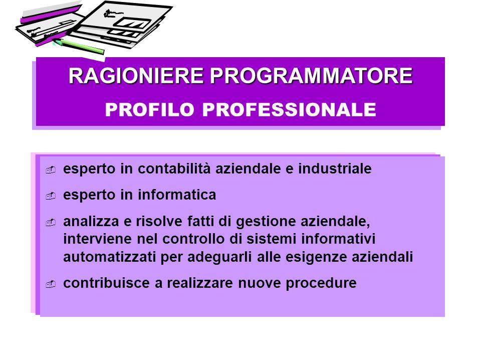 RAGIONIERE PROGRAMMATORE PROFILO PROFESSIONALE RAGIONIERE PROGRAMMATORE PROFILO PROFESSIONALE esperto in contabilità aziendale e industriale esperto i