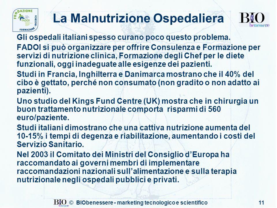 © BIObenessere - marketing tecnologico e scientifico11 La Malnutrizione Ospedaliera Gli ospedali italiani spesso curano poco questo problema. FADOI si