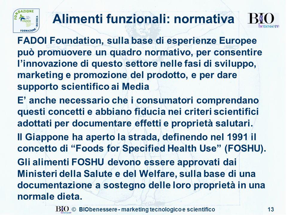 © BIObenessere - marketing tecnologico e scientifico13 Alimenti funzionali: normativa FADOI Foundation, sulla base di esperienze Europee può promuover