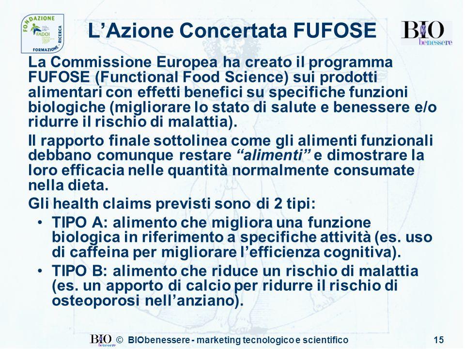© BIObenessere - marketing tecnologico e scientifico15 LAzione Concertata FUFOSE La Commissione Europea ha creato il programma FUFOSE (Functional Food