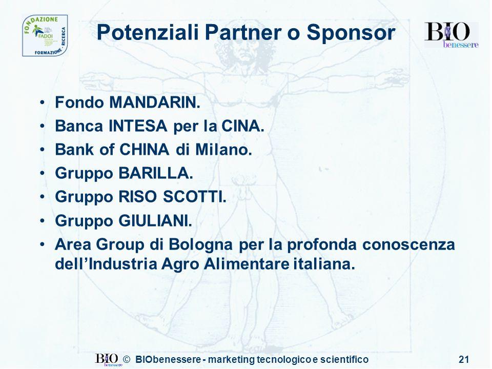 © BIObenessere - marketing tecnologico e scientifico21 Potenziali Partner o Sponsor Fondo MANDARIN. Banca INTESA per la CINA. Bank of CHINA di Milano.