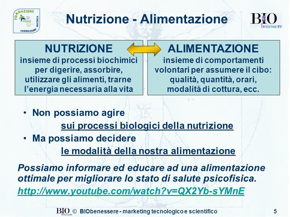 © BIObenessere - marketing tecnologico e scientifico5 Nutrizione - Alimentazione Non possiamo agire sui processi biologici della nutrizione Ma possiam