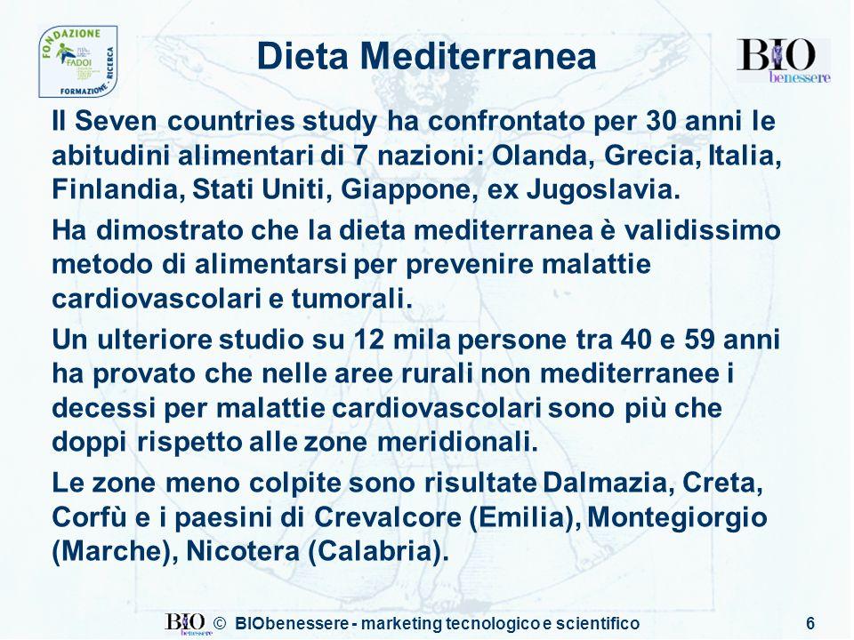 © BIObenessere - marketing tecnologico e scientifico6 Dieta Mediterranea Il Seven countries study ha confrontato per 30 anni le abitudini alimentari d