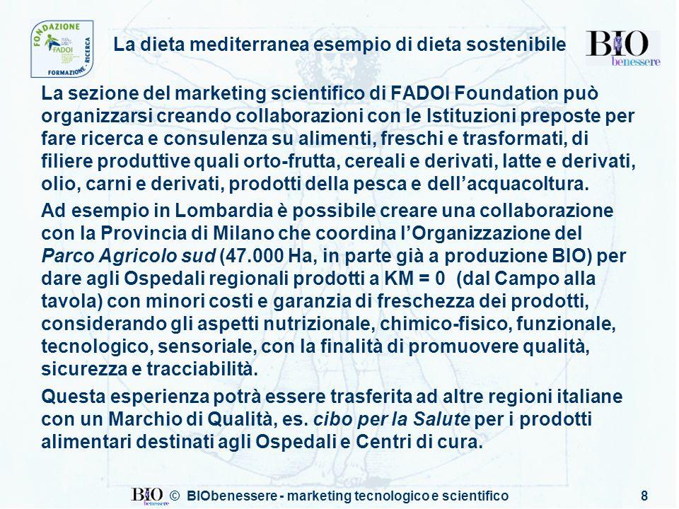 © BIObenessere - marketing tecnologico e scientifico8 La dieta mediterranea esempio di dieta sostenibile La sezione del marketing scientifico di FADOI