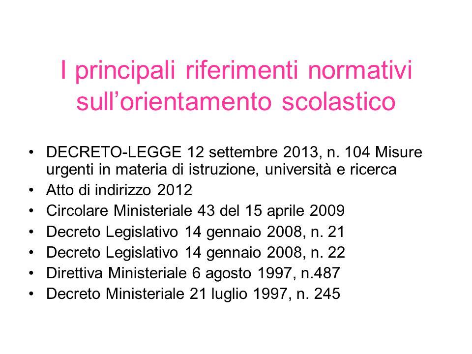 I principali riferimenti normativi sullorientamento scolastico DECRETO-LEGGE 12 settembre 2013, n. 104 Misure urgenti in materia di istruzione, univer