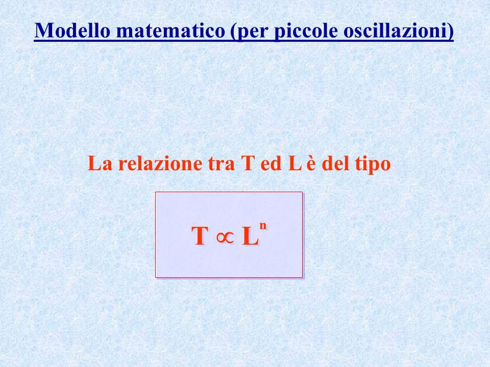 Modello matematico (per piccole oscillazioni) La relazione tra T ed L è del tipo T L