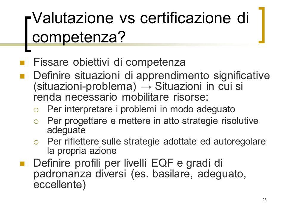 26 Valutazione vs certificazione di competenza? Fissare obiettivi di competenza Definire situazioni di apprendimento significative (situazioni-problem