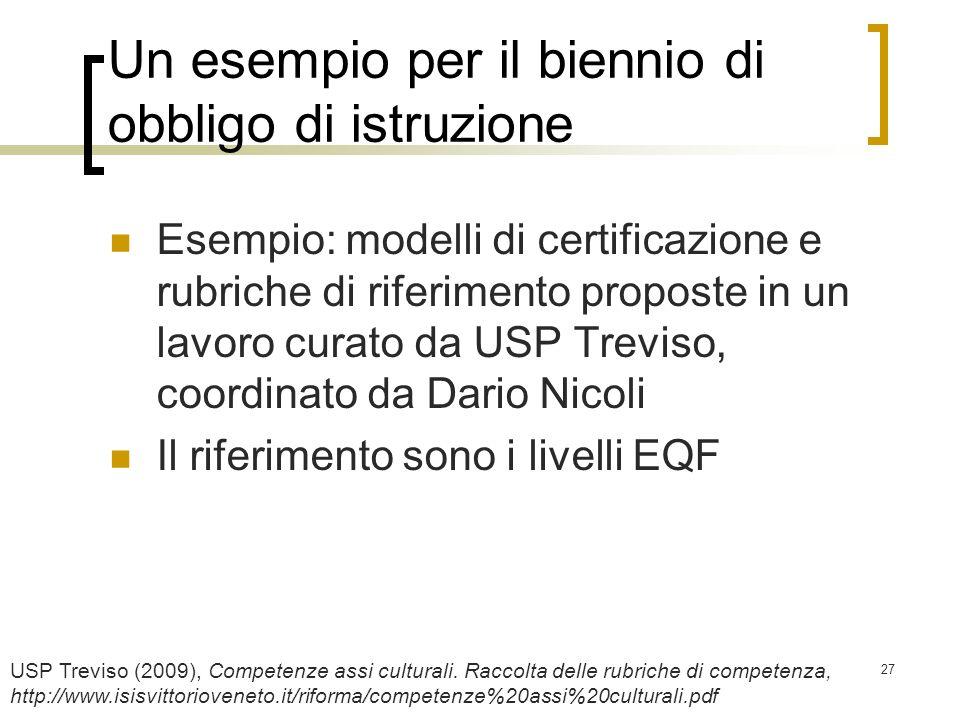 27 Un esempio per il biennio di obbligo di istruzione Esempio: modelli di certificazione e rubriche di riferimento proposte in un lavoro curato da USP