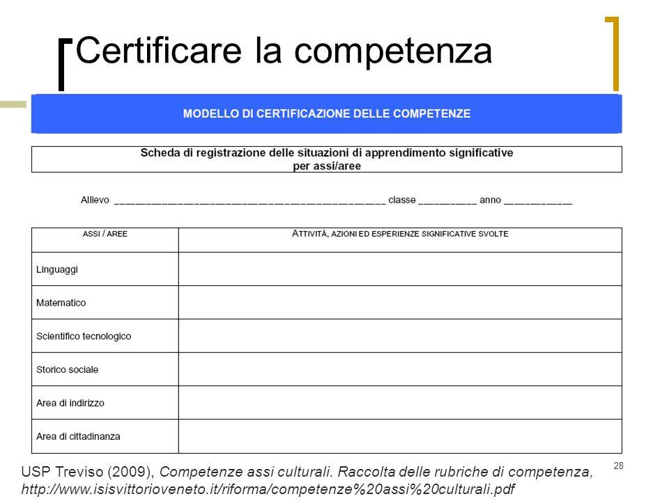 28 Certificare la competenza USP Treviso (2009), Competenze assi culturali. Raccolta delle rubriche di competenza, http://www.isisvittorioveneto.it/ri
