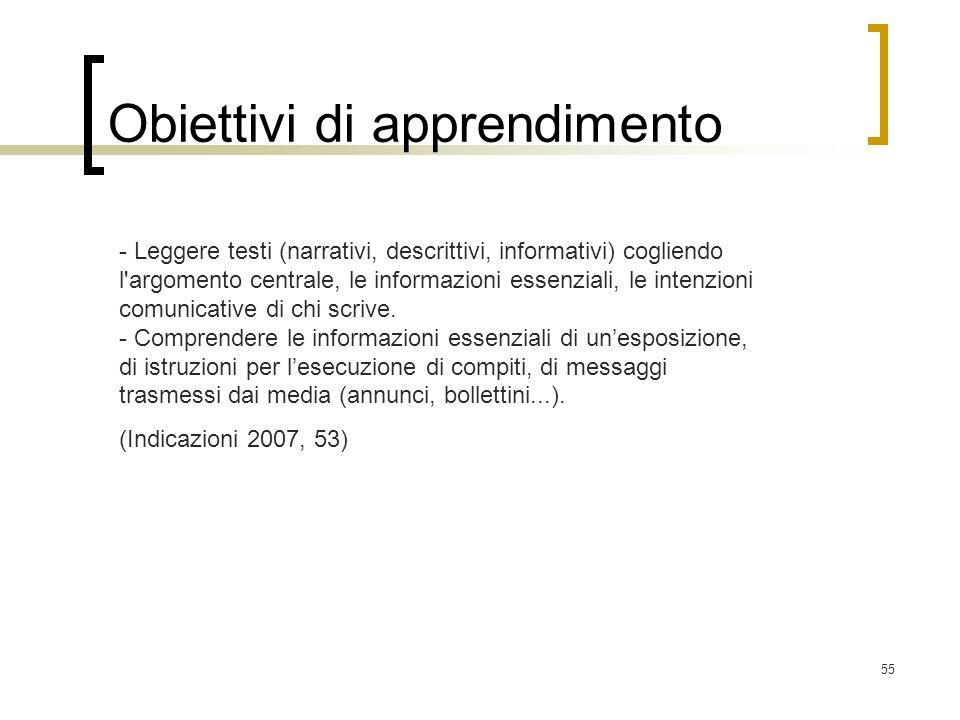 55 Obiettivi di apprendimento - Leggere testi (narrativi, descrittivi, informativi) cogliendo l'argomento centrale, le informazioni essenziali, le int