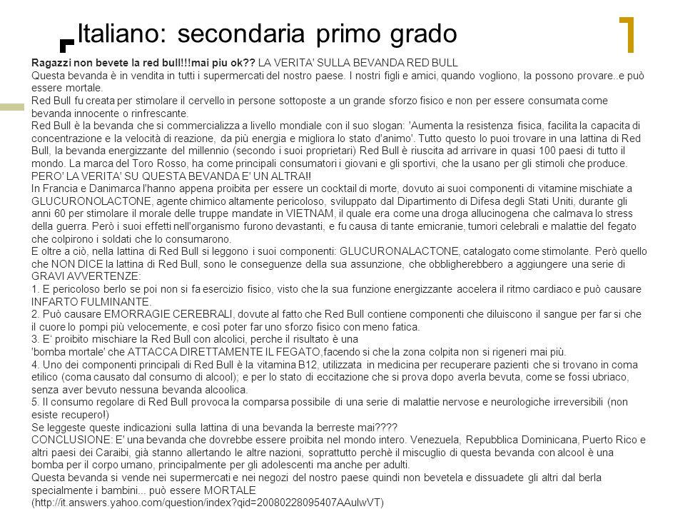 56 Italiano: secondaria primo grado Ragazzi non bevete la red bull!!!mai piu ok?? LA VERITA' SULLA BEVANDA RED BULL Questa bevanda è in vendita in tut