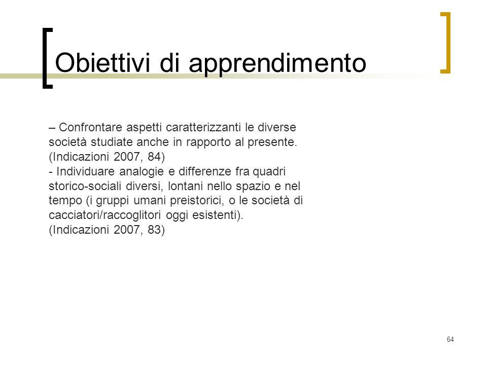 64 Obiettivi di apprendimento – Confrontare aspetti caratterizzanti le diverse società studiate anche in rapporto al presente. (Indicazioni 2007, 84)