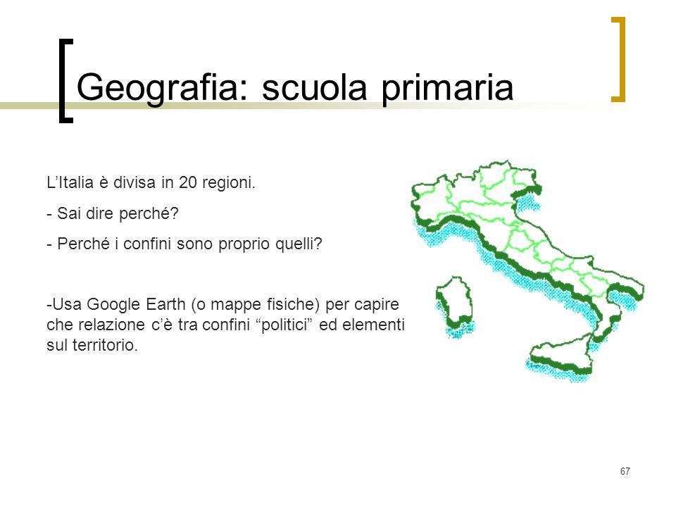 67 Geografia: scuola primaria LItalia è divisa in 20 regioni. - Sai dire perché? - Perché i confini sono proprio quelli? -Usa Google Earth (o mappe fi