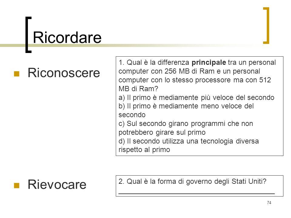 74 Ricordare Riconoscere Rievocare 1. Qual è la differenza principale tra un personal computer con 256 MB di Ram e un personal computer con lo stesso