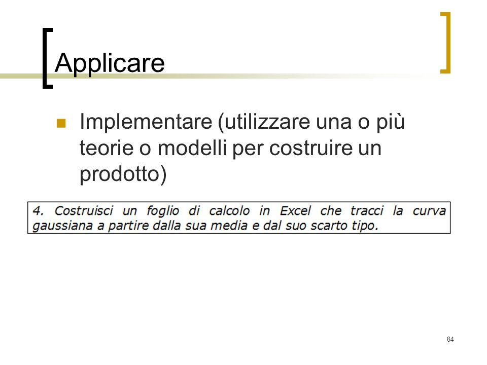 84 Applicare Implementare (utilizzare una o più teorie o modelli per costruire un prodotto)