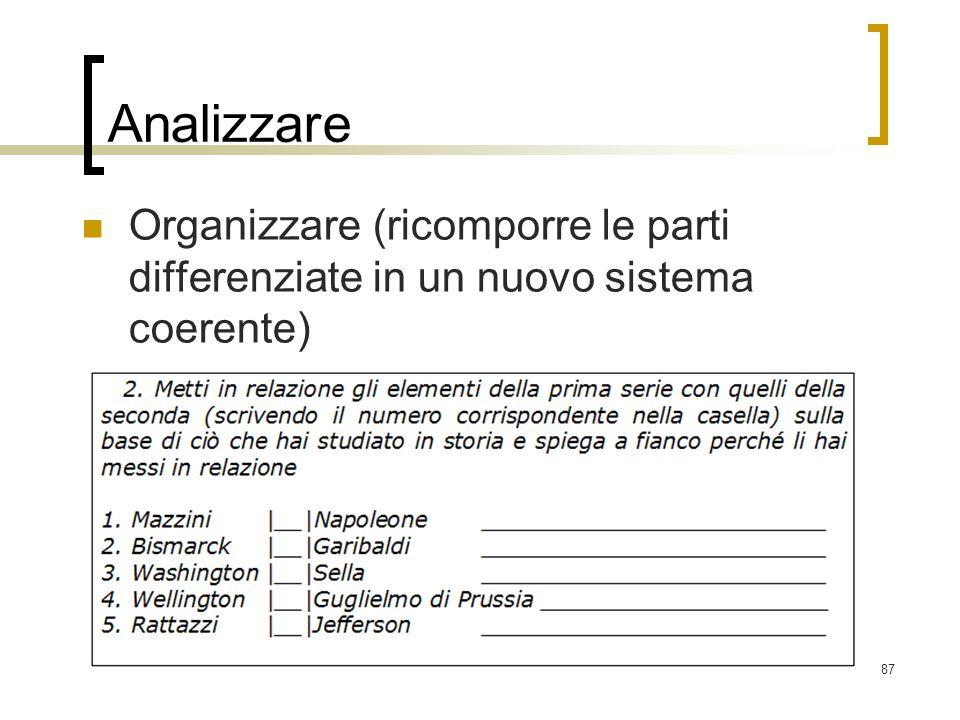 87 Analizzare Organizzare (ricomporre le parti differenziate in un nuovo sistema coerente)