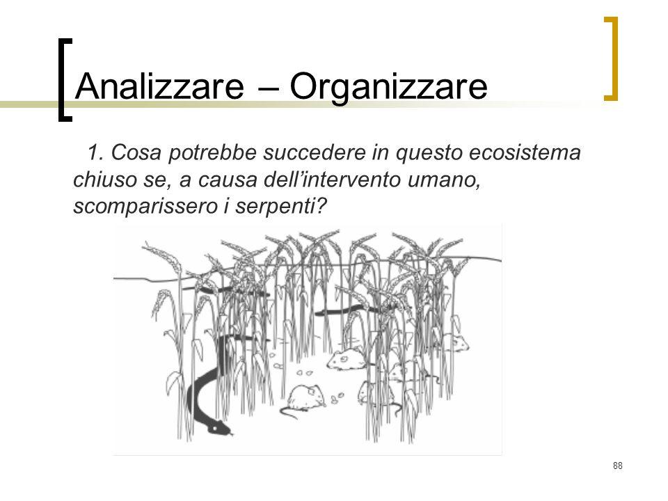 88 Analizzare – Organizzare 1. Cosa potrebbe succedere in questo ecosistema chiuso se, a causa dellintervento umano, scomparissero i serpenti?