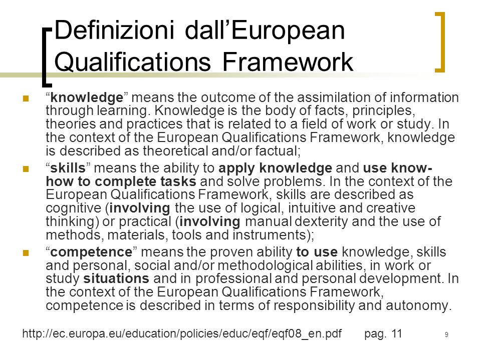 9 Definizioni dallEuropean Qualifications Framework knowledge means the outcome of the assimilation of information through learning. Knowledge is the