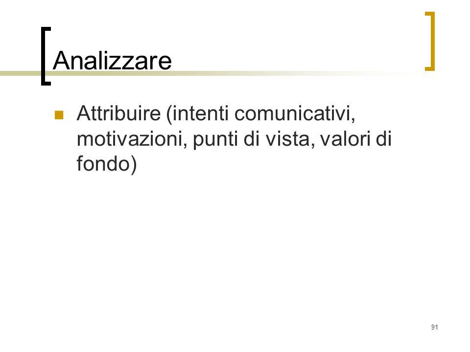 91 Analizzare Attribuire (intenti comunicativi, motivazioni, punti di vista, valori di fondo)