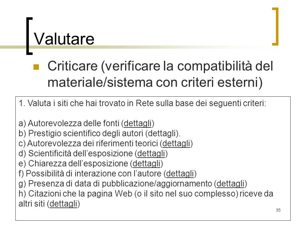 95 Valutare Criticare (verificare la compatibilità del materiale/sistema con criteri esterni) 1. Valuta i siti che hai trovato in Rete sulla base dei