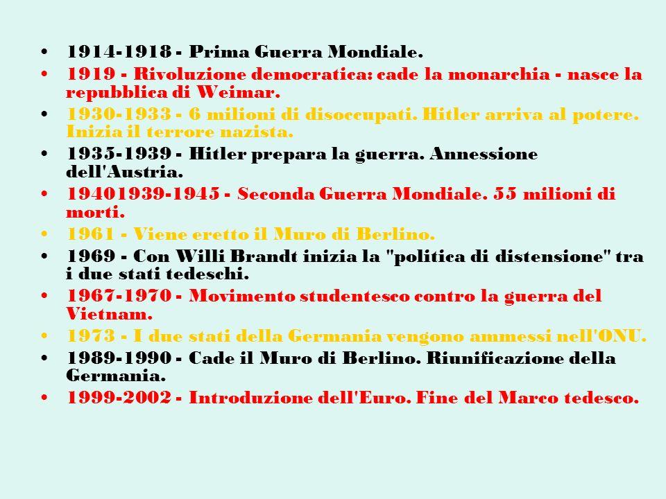 1914-1918 - Prima Guerra Mondiale. 1919 - Rivoluzione democratica: cade la monarchia - nasce la repubblica di Weimar. 1930-1933 - 6 milioni di disoccu