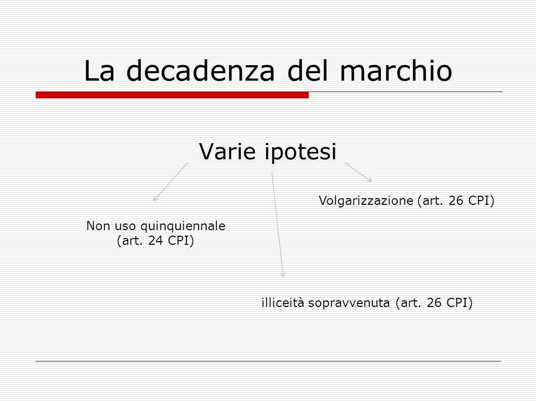 La decadenza del marchio Varie ipotesi Non uso quinquiennale (art. 24 CPI) Volgarizzazione (art. 26 CPI) illiceità sopravvenuta (art. 26 CPI)