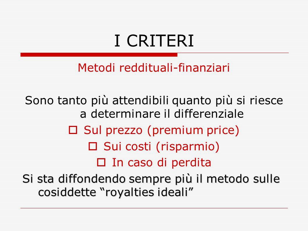 I CRITERI Metodi reddituali-finanziari Sono tanto più attendibili quanto più si riesce a determinare il differenziale Sul prezzo (premium price) Sui c