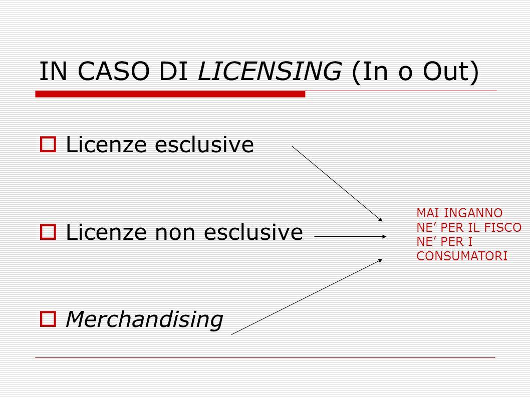 IN CASO DI LICENSING (In o Out) Licenze esclusive Licenze non esclusive Merchandising MAI INGANNO NE PER IL FISCO NE PER I CONSUMATORI