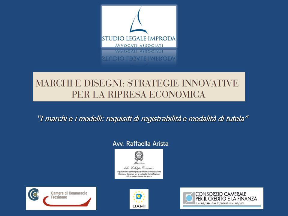 I marchi e i modelli: requisiti di registrabilità e modalità di tutela Avv. Raffaella Arista