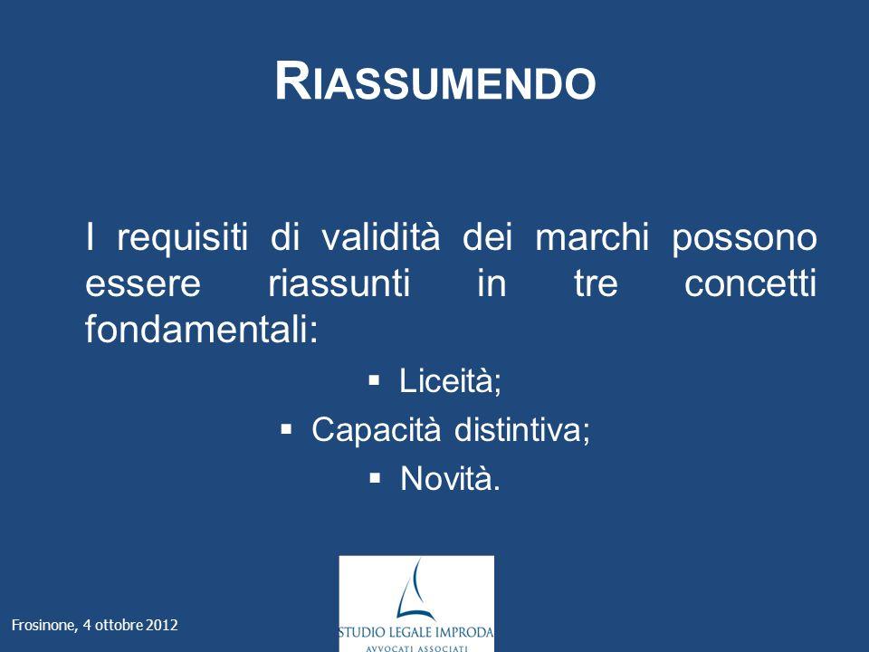 R IASSUMENDO I requisiti di validità dei marchi possono essere riassunti in tre concetti fondamentali: Liceità; Capacità distintiva; Novità.