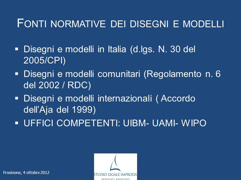 F ONTI NORMATIVE DEI DISEGNI E MODELLI Disegni e modelli in Italia (d.lgs.