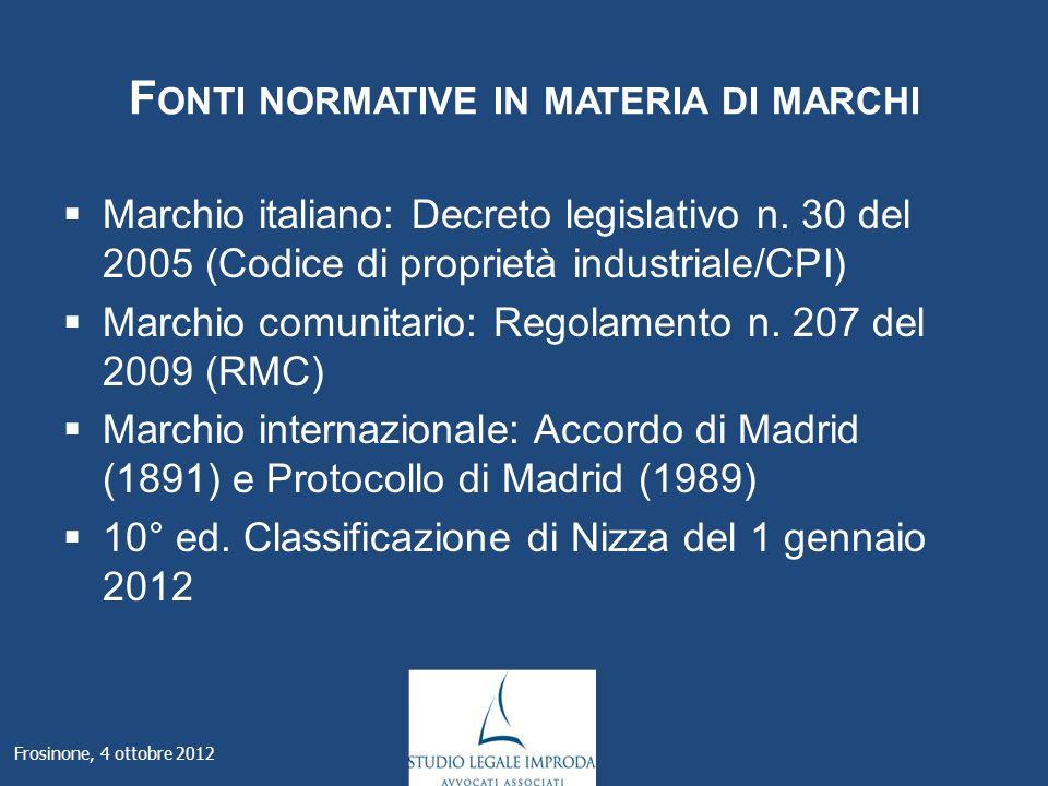 F ONTI NORMATIVE IN MATERIA DI MARCHI Marchio italiano: Decreto legislativo n.
