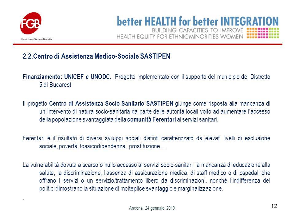2.2.Centro di Assistenza Medico-Sociale SASTIPEN Finanziamento: UNICEF e UNODC.