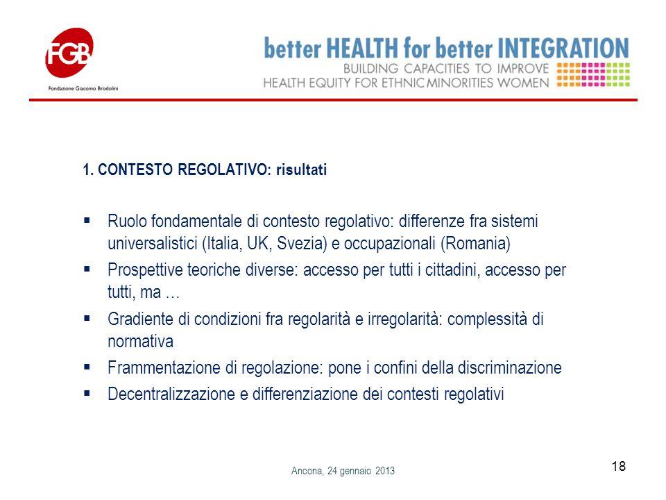 1. CONTESTO REGOLATIVO: risultati Ruolo fondamentale di contesto regolativo: differenze fra sistemi universalistici (Italia, UK, Svezia) e occupaziona