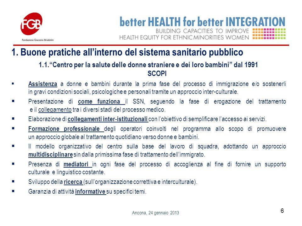 1. Buone pratiche allinterno del sistema sanitario pubblico 1.1.Centro per la salute delle donne straniere e dei loro bambini dal 1991 SCOPI Assistenz