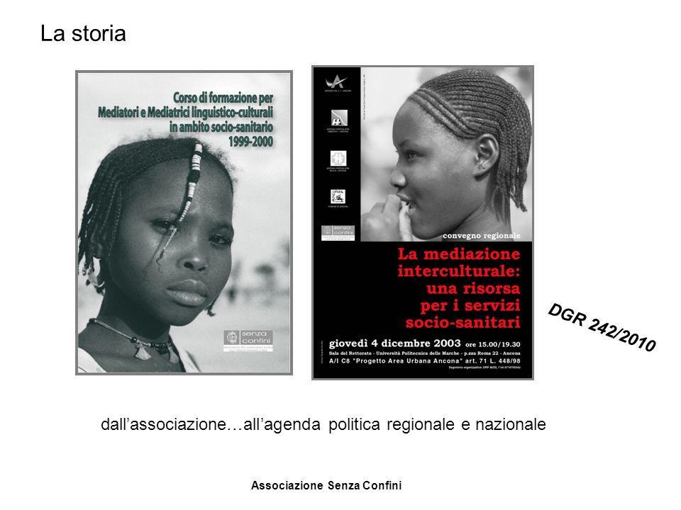 Associazione Senza Confini dallassociazione…allagenda politica regionale e nazionale DGR 242/2010 La storia