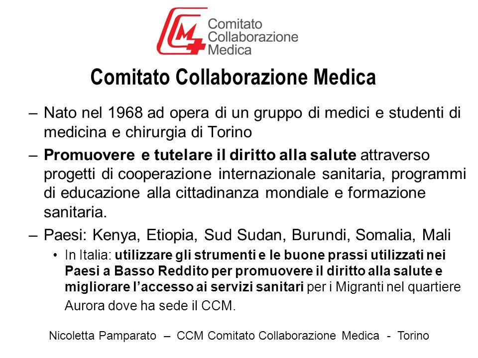 Comitato Collaborazione Medica –Nato nel 1968 ad opera di un gruppo di medici e studenti di medicina e chirurgia di Torino –Promuovere e tutelare il diritto alla salute attraverso progetti di cooperazione internazionale sanitaria, programmi di educazione alla cittadinanza mondiale e formazione sanitaria.